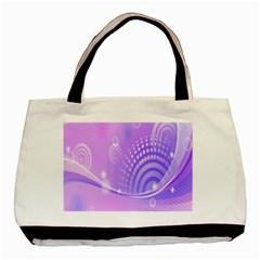 Purple Circle Line Light Basic Tote Bag