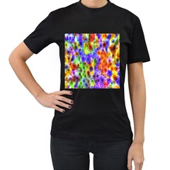 Green Jellyfish Yellow Pink Red Blue Rainbow Sea Purple Women s T-Shirt (Black) (Two Sided)