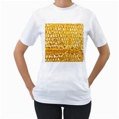 Honeycomb Fine Honey Yellow Sweet Women s T Shirt (white) (two Sided)