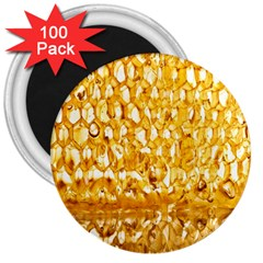 Honeycomb Fine Honey Yellow Sweet 3  Magnets (100 pack)