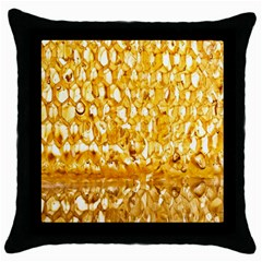 Honeycomb Fine Honey Yellow Sweet Throw Pillow Case (Black)