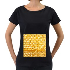 Honeycomb Fine Honey Yellow Sweet Women s Loose Fit T Shirt (black)