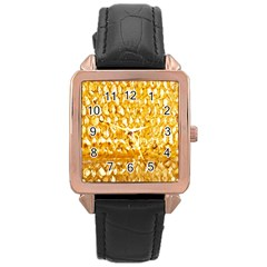 Honeycomb Fine Honey Yellow Sweet Rose Gold Leather Watch