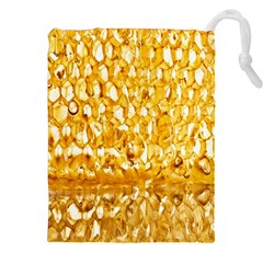 Honeycomb Fine Honey Yellow Sweet Drawstring Pouches (XXL)