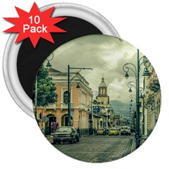 Historic Center Urban Scene At Riobamba City, Ecuador 3  Magnets (10 pack)