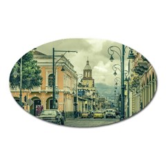 Historic Center Urban Scene At Riobamba City, Ecuador Oval Magnet
