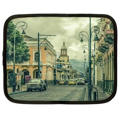 Historic Center Urban Scene At Riobamba City, Ecuador Netbook Case (Large)