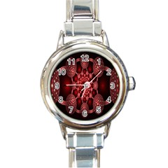 Lines Circles Red Shadow Round Italian Charm Watch