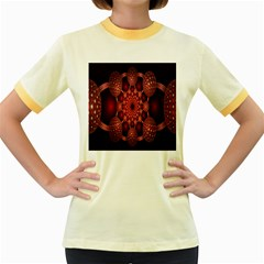 Lines Circles Red Shadow Women s Fitted Ringer T-Shirts