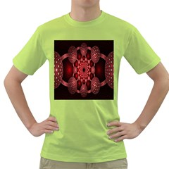 Lines Circles Red Shadow Green T Shirt