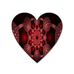Lines Circles Red Shadow Heart Magnet