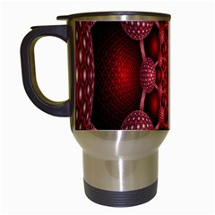 Lines Circles Red Shadow Travel Mugs (White)