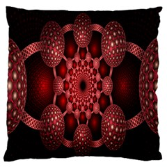 Lines Circles Red Shadow Large Flano Cushion Case (One Side)