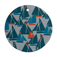 Ship Sea Blue Round Ornament (Two Sides)