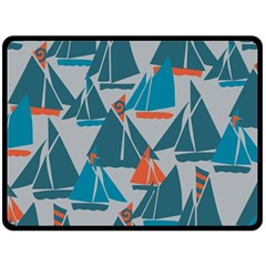 Ship Sea Blue Fleece Blanket (Large)