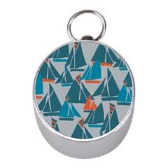 Ship Sea Blue Mini Silver Compasses