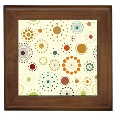 Seamless Floral Flower Orange Red Green Blue Circle Framed Tiles