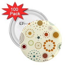 Seamless Floral Flower Orange Red Green Blue Circle 2.25  Buttons (100 pack)