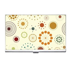 Seamless Floral Flower Orange Red Green Blue Circle Business Card Holders
