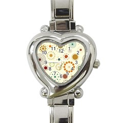 Seamless Floral Flower Orange Red Green Blue Circle Heart Italian Charm Watch
