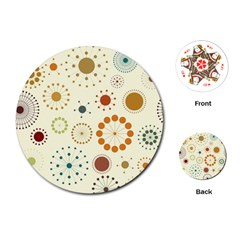 Seamless Floral Flower Orange Red Green Blue Circle Playing Cards (Round)