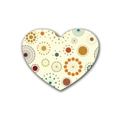 Seamless Floral Flower Orange Red Green Blue Circle Heart Coaster (4 pack)