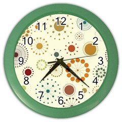Seamless Floral Flower Orange Red Green Blue Circle Color Wall Clocks