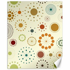 Seamless Floral Flower Orange Red Green Blue Circle Canvas 11  x 14