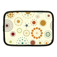Seamless Floral Flower Orange Red Green Blue Circle Netbook Case (Medium)
