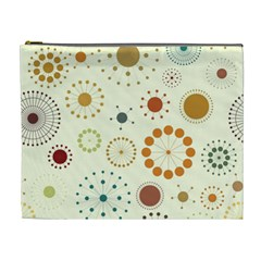 Seamless Floral Flower Orange Red Green Blue Circle Cosmetic Bag (XL)