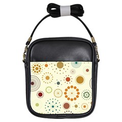 Seamless Floral Flower Orange Red Green Blue Circle Girls Sling Bags
