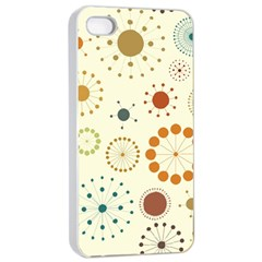 Seamless Floral Flower Orange Red Green Blue Circle Apple iPhone 4/4s Seamless Case (White)