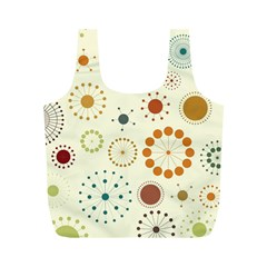 Seamless Floral Flower Orange Red Green Blue Circle Full Print Recycle Bags (M)