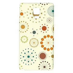 Seamless Floral Flower Orange Red Green Blue Circle Galaxy Note 4 Back Case