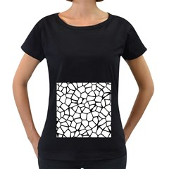 Seamless Cobblestone Texture Specular Opengameart Black White Women s Loose-Fit T-Shirt (Black)