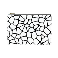 Seamless Cobblestone Texture Specular Opengameart Black White Cosmetic Bag (Large)