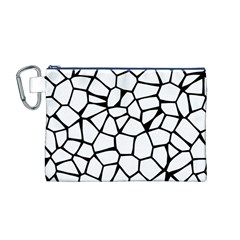 Seamless Cobblestone Texture Specular Opengameart Black White Canvas Cosmetic Bag (M)
