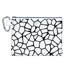 Seamless Cobblestone Texture Specular Opengameart Black White Canvas Cosmetic Bag (L)