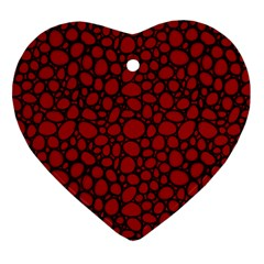 Tile Circles Large Red Stone Ornament (Heart)
