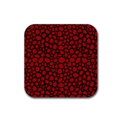 Tile Circles Large Red Stone Rubber Coaster (square)