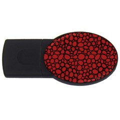 Tile Circles Large Red Stone Usb Flash Drive Oval (4 Gb)