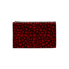Tile Circles Large Red Stone Cosmetic Bag (Small)