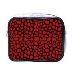 Tile Circles Large Red Stone Mini Toiletries Bags