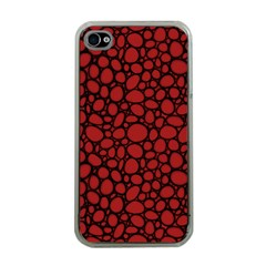 Tile Circles Large Red Stone Apple iPhone 4 Case (Clear)