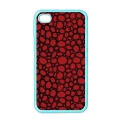 Tile Circles Large Red Stone Apple iPhone 4 Case (Color)