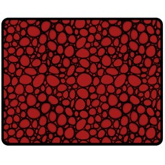 Tile Circles Large Red Stone Double Sided Fleece Blanket (Medium)