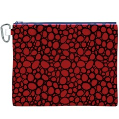 Tile Circles Large Red Stone Canvas Cosmetic Bag (XXXL)