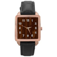 Texture Seamless Wood Brown Rose Gold Leather Watch