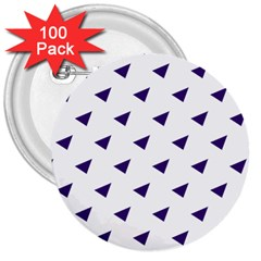 Triangle Purple Blue White 3  Buttons (100 Pack)