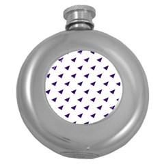 Triangle Purple Blue White Round Hip Flask (5 oz)